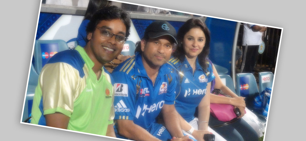 With Sachin Tendulkar – Indian Cricketer